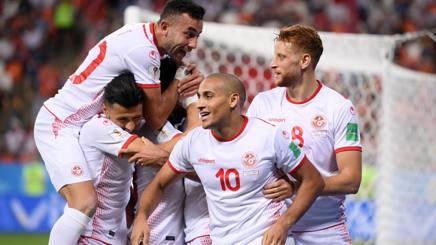 La Tunisia festeggia la rimonta con Panama. Getty