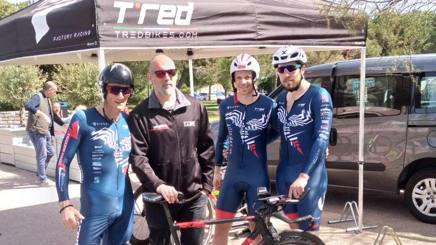 Con Romolo Stanco presidente della società e Claudio Campi atleta paralimpico