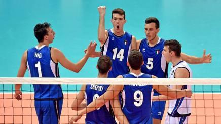 L'esultanza degli azzurri per l'oro vinto ai Giochi del Mediterraneo