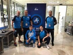 Vincenzo Piroddu e Laura Godino con i tecnici azzurri a Zagabria