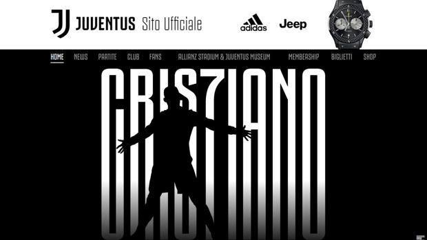 La home page del sito ufficiale della Juve con la notizia dell'arrivo di Ronaldo