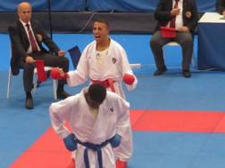 Rabia Jendoubi esulta per la vittoria nella finale per il bronzo nei -75 kg ai Giochi del Mediterraneo