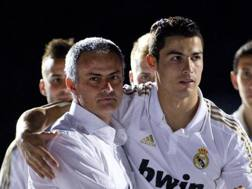 José Mourinho e Cristiano Ronaldo insieme al Real. Afp