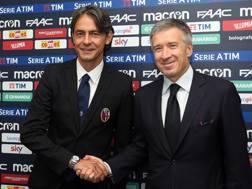 Pippo Inzaghi e l'a.d. del Bologna, Claudio Fenucci. Lapresse