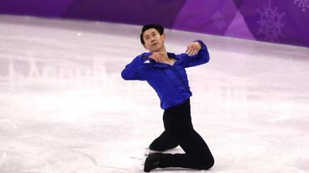 Denis Ten in gara ai Giochi di PyeongChang 2018. Getty