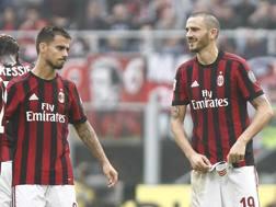 Suso e Leonardo Bonucci al Milan. Lapresse