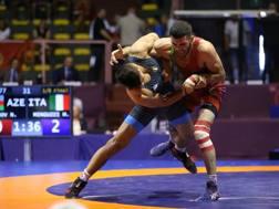 Mirco Minguzzi in gara oggi nei -77 kg della greco-romana