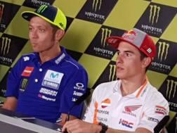 Rossi e Marquez in conferenza stampa a Brno