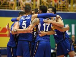 L'esultanza degli azzurri nel match di Cavalese ZANUTTO/FIPAV