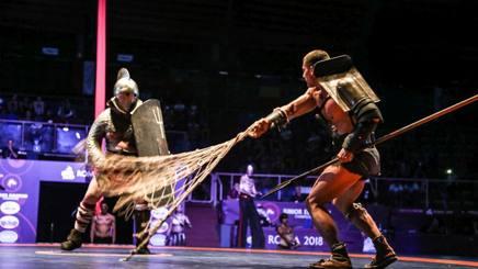 Un momento della spettacolare esibizione che ha chiuso l'Europeo di Roma