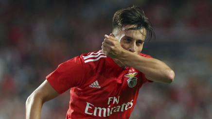 L'esultanza di Franco Cervi del Benfica. Ap