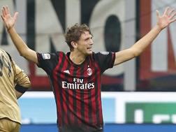 L'esultanza di Locatelli dopo il gol al Sassuolo. Ao