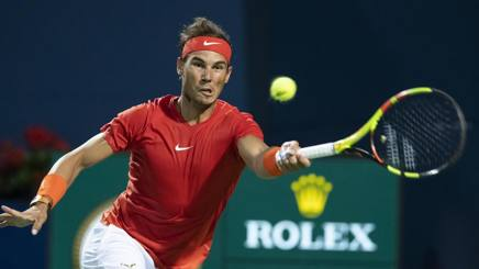 Rafael Nadal, 32 anni, in azione durante il quarto di finale di Toronto vinto contro il croato Cilic in tre set EPA