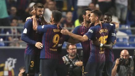 L'esultanza di Piqué dopo il gol al Siviglia. Ap
