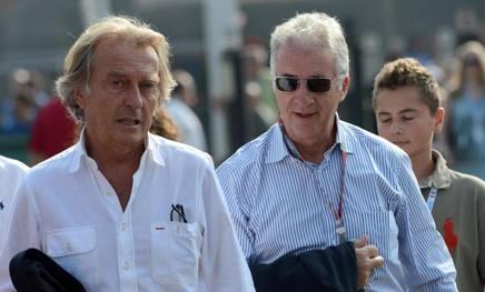 Luca Cordero di Montezemolo, 71 anni, presidente Ferrari dal 1991 al 2014 e Piero Ferrari, 73  a Monza nel 2012 ANSA