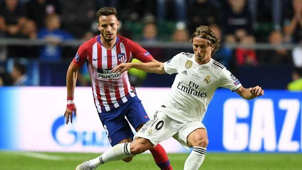 Luka Modric nella finale di Supercoppa Europea contro l'Atletico Madrid. AFP