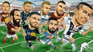 Cristiano Ronaldo inseguito dagli avversari della A 2018-2019