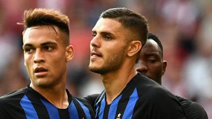 Lautaro Martinez e Mauro Icardi. Getty Images