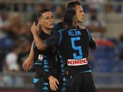 L'esultanza del Napoli al gol di Milik. Getty