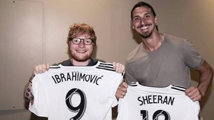 Ed Sheeran e Zlatan Ibrahimovic. Instagram