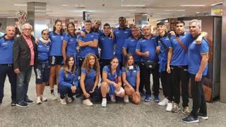 La comitiva azzurra alla partenza per Budapest