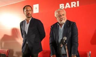 Luigi e Aurelio De Laurentiis alla presentazione dell'organigramma del Bari. LaPresse