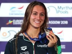 Simona Quadarella, 19 anni, oro negli 800 sl , nei 1500 sl e nei 400 sl agli Europei di nuoto di Glasgow. Getty Images