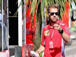 Sebastian Vettel nel paddock di Spa. Getty