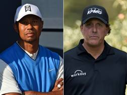 Tiger Woods e Phil Mickelson. AFP
