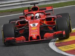 La Ferrari di Sebastian Vettel in azione a Spa. Ap