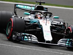 Lewis Hamilton in azione a Spa. Getty