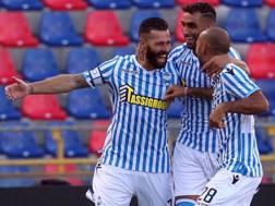 Mirco Antenucci, attaccante della Spal, festeggia il gol partita. Getty