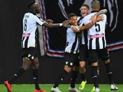 L'esultanza dell'Udinese dopo il gol di De Paul. Getty Images