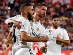 Benzema e Ramos, entrambi a segno a Girona. Afp