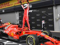 Sebastian Vettel in trionfo a Spa. Afp
