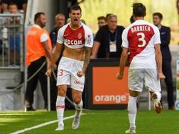 Pietro Pellegri esulta dopo il gol contro il Bordeaux. Afp