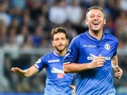 Antonio Cassano esulta dopo il gol alla