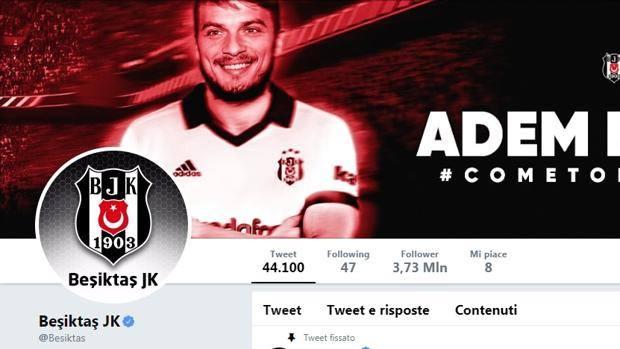 Così il Besiktas sul suo profilo Twitter ufficiale annuncia l'arrivo di Ljajic