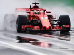 Sebastian Vettel in azione nelle Libere1 di Monza. Afp