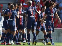 La squadra festeggia il gol di Di Maria. Afp