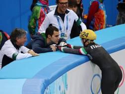 Anthony Lobello, 34 anni, e la moglie Arianna Fontana, 28, a febbraio all'Olimpiade. Epa