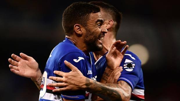 La gioia di Gregoire Defrel dopo uno dei suoi gol al Napoli. Afp