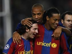 Lionel Messi e Ronaldinho. AFP
