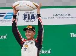 George Russell sul podio di Monza