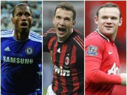 Didier Drogba, Andriy Shevchenko, Weyne Rooney