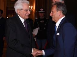 Il Presidente della Repubblica Sergio Mattarella e il presidente di Lega A Gaetano Miccichè.