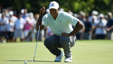 Tiger Woods, 42 anni, sul green di una buca del Bmw Championship in corso a AFP
