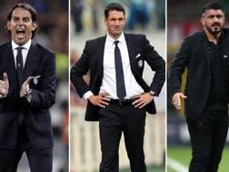 Da sinistra: Simone Inzaghi (Lazio), Julio Velazquez (Udinese) e Gennaro Gattuso (Milan). Gazzetta