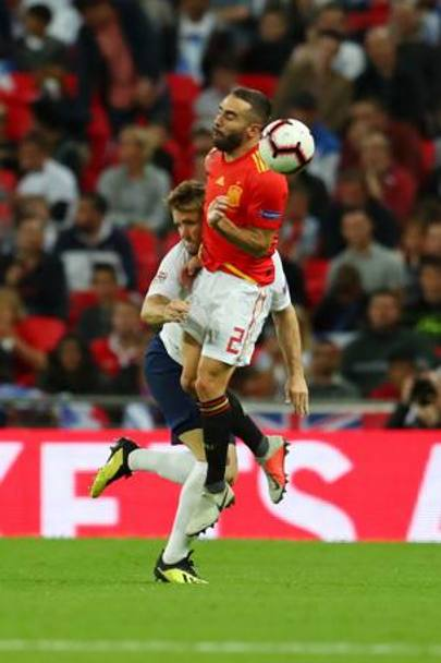 Lo scontro tra Shaw e Carvajal. Getty Images