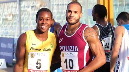 Da sinistra Fausto Desalu, 24 anni, con Marcell Jacobs, 23. Colombo